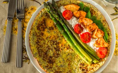 Madpandekager med chiafrø, asparges og kyllingefajita
