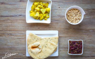 Rajma Chaval og Aaloo Gobi (røde kidneybønner med ris og blomkål)