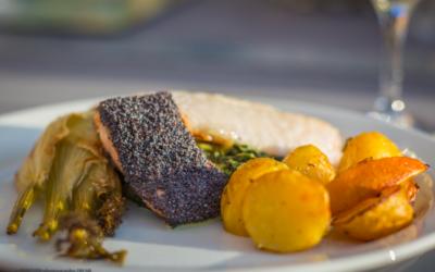 Laks- og rødfiskfilet med bagt fennikel