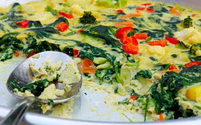 Bagte grøntsager med ricotta og muskat