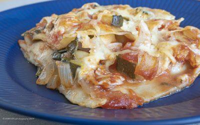 Lasagne med spinat, squash og løg – vegetarlasagne